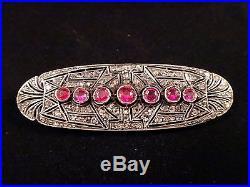 Très belle broche plaque ancienne en argent or diamants rose et rubis Art Deco